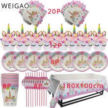 WEIGAO Unicorn Decoration Birthday Party Decor Kids Unicorn Disposable Tableware set Baby Shower Girl Birthday Party Supplies