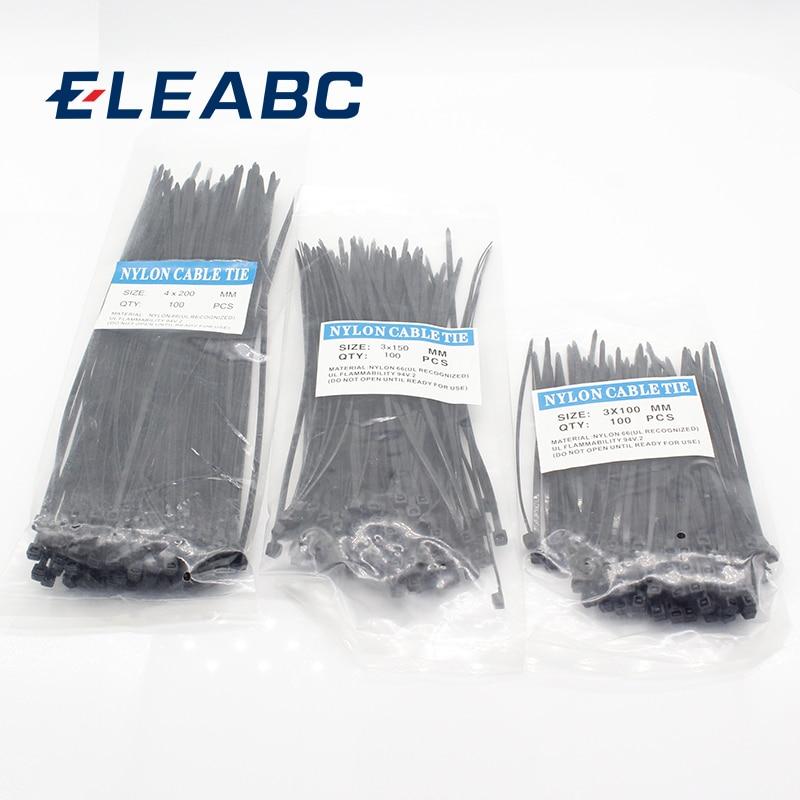 300 шт., нейлоновые кабельные самоблокирующиеся пластиковые кабельные стяжки 3*100 3*150 4*200 MRO, промышленные застежки и оборудование, кабель