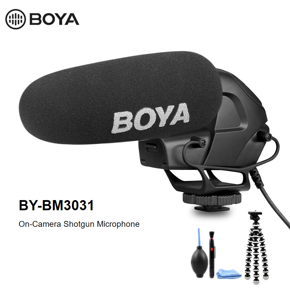 BOYA BY-BM3031 Supercardioid Condenser Interview Capacitive Microphone Camera Video Mic For Canon Nikon Sony DSLR Camcorder
