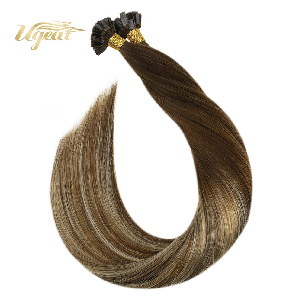 Ugeat Pre-Bonded Fusion Hair Extensions Human Hair 14-24