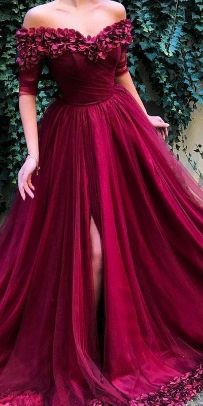 >2020 3D Flower Off Shoulder Prom Dresses Long Half Sleeves A Line <font><b>High</b></font> <font><b>Split</b></font> <font><b>Tulle</b></font> Formal Evening Party Gowns Women