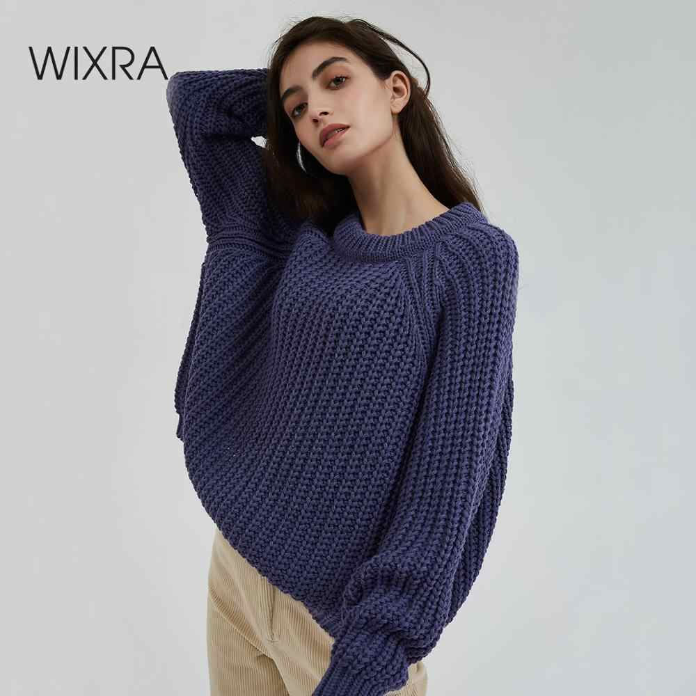 Wixra Knitted Chunky Oversized Sweater Women Loose Solid Thick O-Neck Pullover Jumpers Stylish Tops for Female Autumn Winter