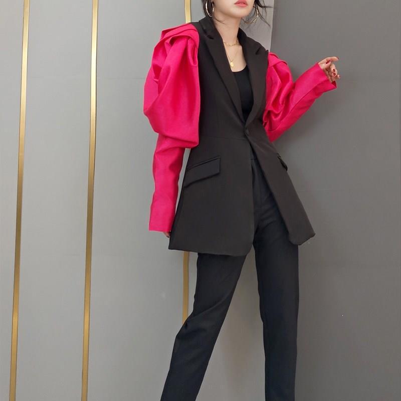 Femme Patchwork Hit couleur Blazer haute rue cranté bouffée à manches longues tunique Blazers