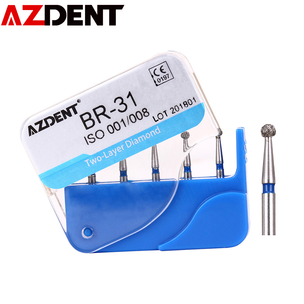 AZDENT 5pc/Box Dental Diamond Burs Drills Two Layer Diamond For High Speed Handpiece Handle Dentist Teeth Whitening Tools BR-31