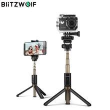BlitzWolf 4 in 1 Cámara Trípode Bluetooth Palo de Selfie Inalámbrico Monopie para Cámaras Deportivas para iPhone X 8 Teléfono inteligente Palos de Selfie