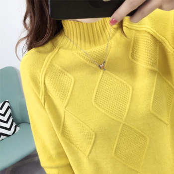 Ailegogo Sweaters 2019 Autumn Winter Solid Thick Turtleneck Casual Ladies Knitted Sweater Pullovers Women's Jumpers Tops 3