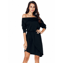 Women Black Asymmetrical Hem Long Sleeve Dress Solid Slash Neck Knee Length Dress Sexy Off Shoulder Ladies High Waist Dress D40 new women slash neck irregular hem cashmere sweater dress long sleeve knee length knitted mermaid dress spring autumn bottoming