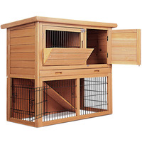 86cm Tall Wooden Pet Coop Rabbit Hutch Chicken Coop Cage Guinea Pig Ferret House W/ 2 Storeys Run Outdoor Cat Dog Pets House