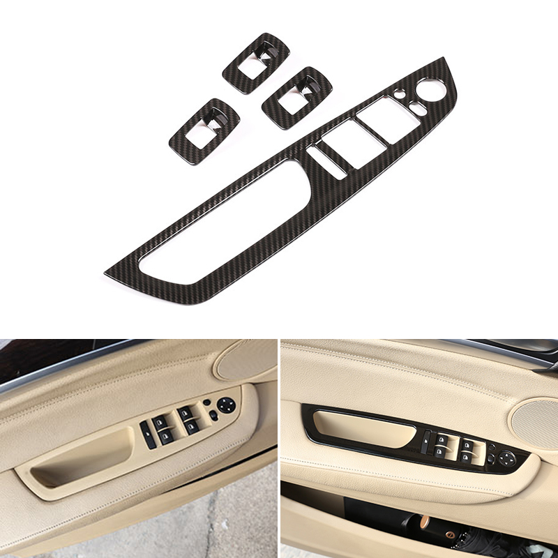 4pcs Carbon Fiber Texture Car <font><b>Interior</b></font> Window Lift Switch Button Frame Cover <font><b>Trim</b></font> For <font><b>BMW</b></font> X5 X6 <font><b>E70</b></font> E71 2008 - 2011 2012 2013 image