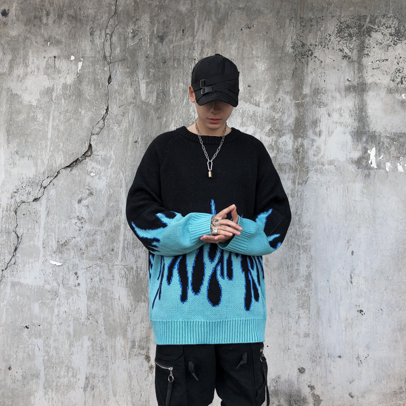 Flame Sweater Men Streetwear Retro Pattern Hip Hop Autumn New Pull Over Spandex O-neck Oversize Couple Casual Men's Sweaters