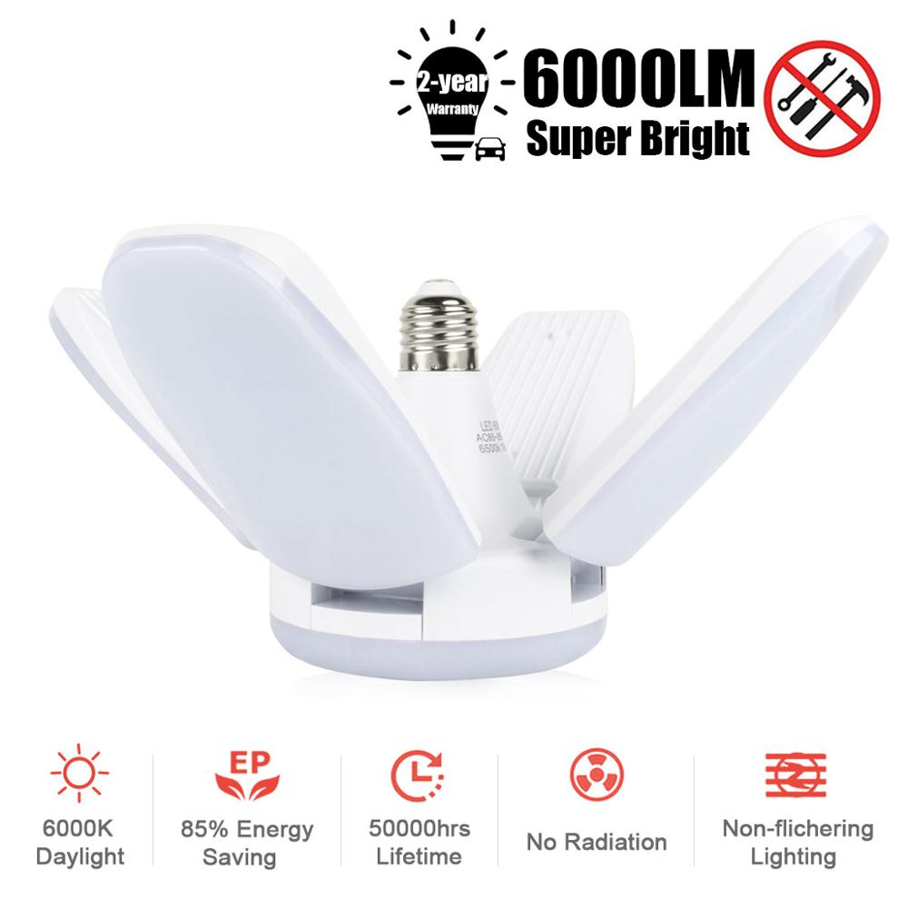 60W Fan Shape LED E27 Bulb Lamp LED Bulb Super luminance Angle Adjustable Ceiling Lamp Living Room Bedroom garage lightCeiling Lights   -