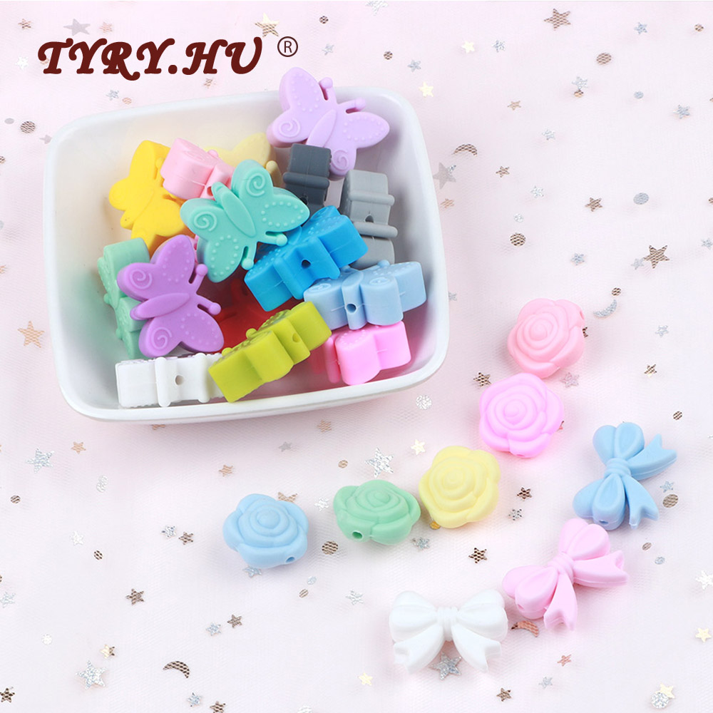 10pc Silicone Beads Crown Rose Bow Baby Teething  FOOD GRADE Silicone Rodent Toy Nurse Gift Accessories BPA Free Silicone Beads