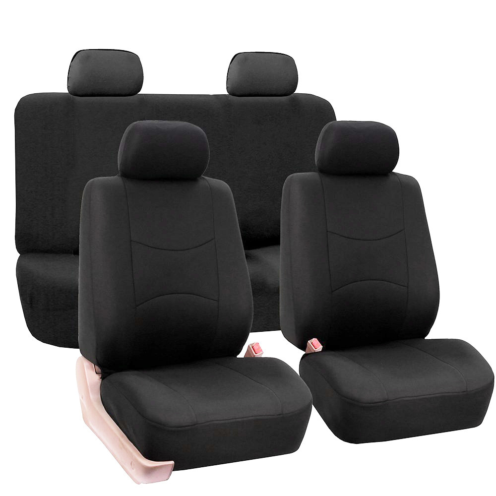 9pcs/Set Black Car Full Seat Covers Front Rear Cushion Vehicles Accessories With Backrest Headrest Cover Polyester Universal
