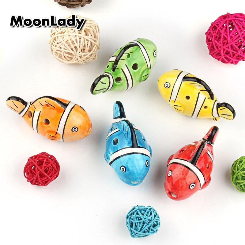 5 Colors Ocarina 6 Hole Clownfish Nemo Small Ocarina Alto C Tone Beginner Ocarina Tourist Souvenir Teaching Toys Ceramic Pendant