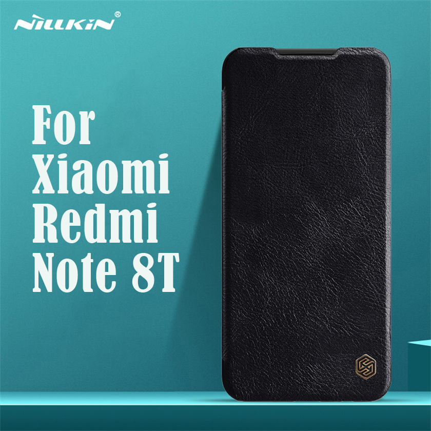 For Xiaomi Redmi Note 8T Flip Case Nillkin Qin Vintage Leather Flip Cover Card Pocket Wallet Case For Redmi Note8T Phone Bags