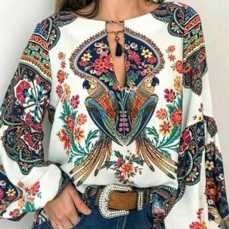 Women Boho Floral V-Neck Tees Long Sleeve Oversize Tops 2019 New Hot Vintage Women Autumn Fashion Casual Blouse Plus