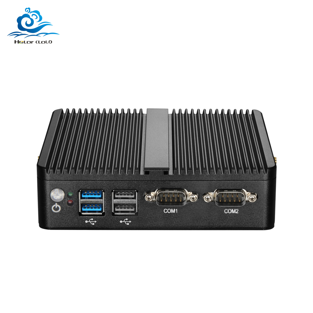 Fanless Mini PC Celeron J1900 J1800 Windows 10 Linux Dual LAN 2 COM Celeron N2810 HDMI WIFI Usb 2*RJ45 Computer Pc