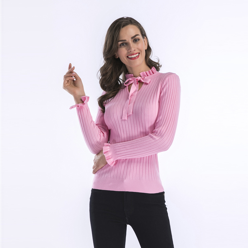 5639 # Autumn Clothing Frilled Lace-up Long Sleeve Base Pullover Knitted Sweater Women's