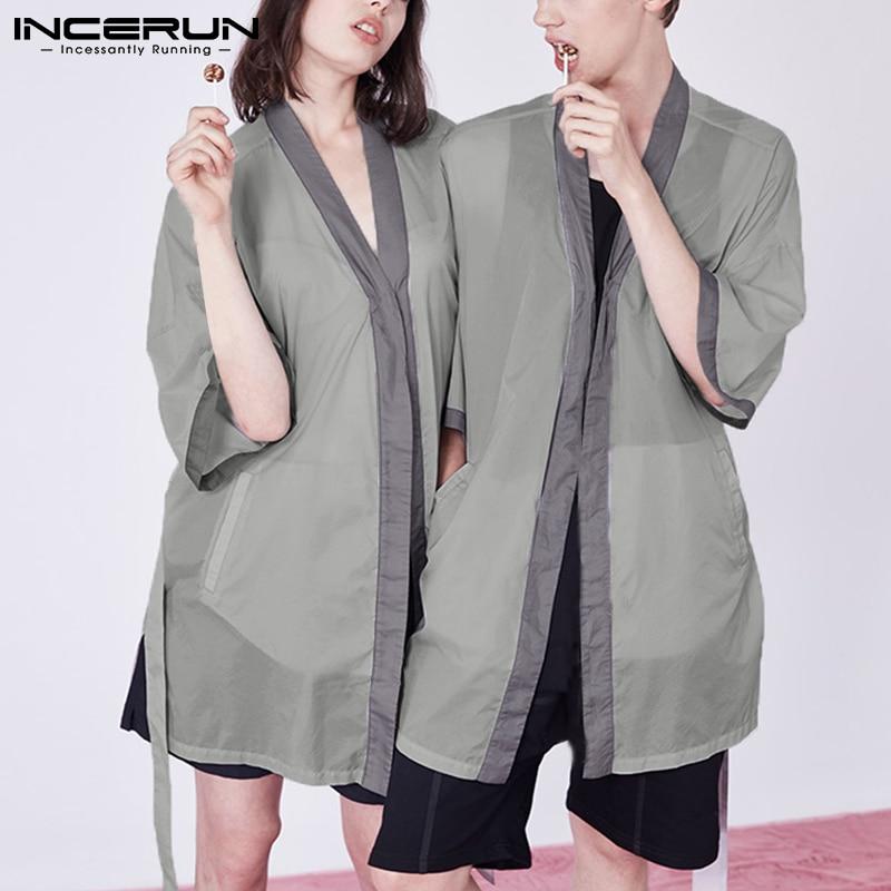 Men Sleep Tops Patchwork Pyjamas Short Sleeve Open Stitch Homewear Leisure Sleepwear Cozy Men Nightwear With Belt S-5XL INCERUN