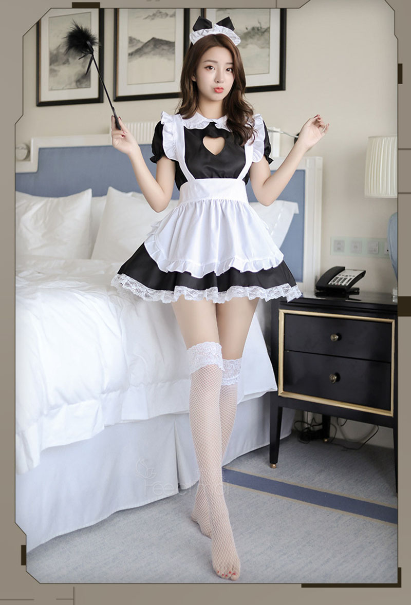 バストオープンメイド衣装セクシーなコスプレキティ衣装綿エプロンレース誘惑ミニドレス女性のためのアニメ黒、白ロリータ    グループ上の ノベルティ