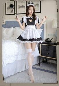 Image 1 - Fantasia de dama aberta sexy, cosplay kitty, roupa de algodão, avental de renda, mini vestido feminino anime branco e preto