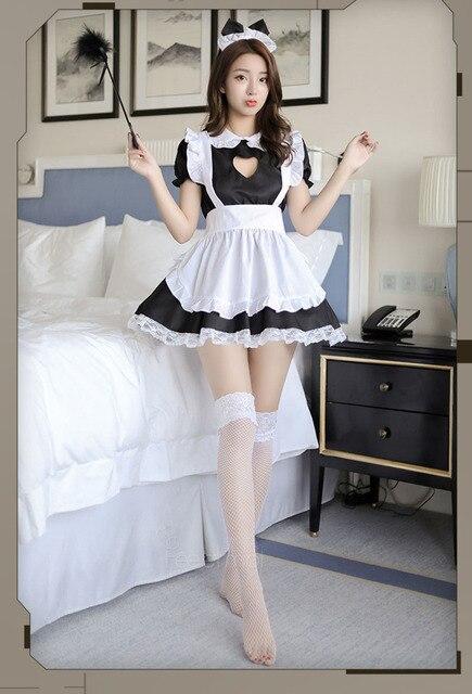 Fantasia de dama aberta sexy, cosplay kitty, roupa de algodão, avental de renda, mini vestido feminino anime branco e preto