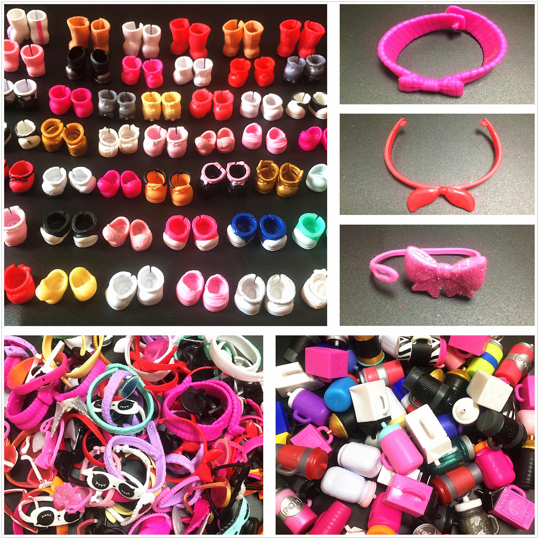 משלוח חינם בובת נעלי האכלת בקבוקים סרטי ראש משקפיים אביזרי עבור LOLs אחות בובות ילדים DIY אוסף צעצועי מתנת מכירה