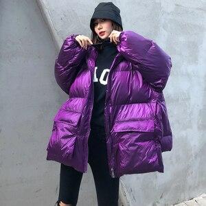Image 2 - 冬厚い女性のジャケット綿が詰め暖かい女の子loose fit hoodedパーカー女性ビッグポケットコートショートスタイル不規則な裾
