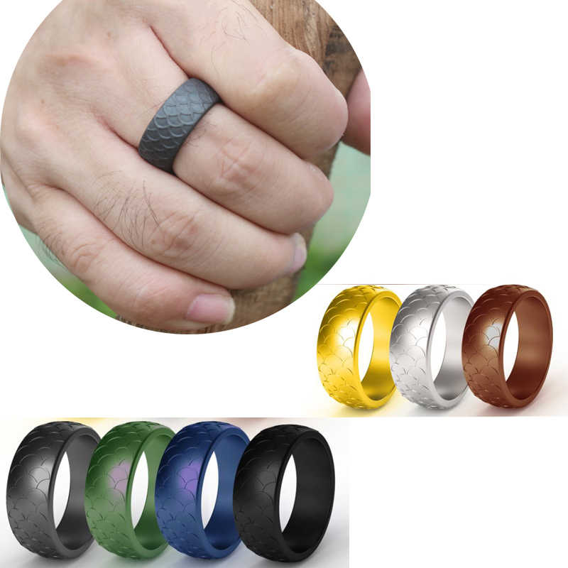 Casual Gym Sports Flexible Silicone Wedding Engagement Ring For Men Women Couple