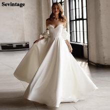 Съемный платье с рукавами фонариками; Атласные свадебные платья