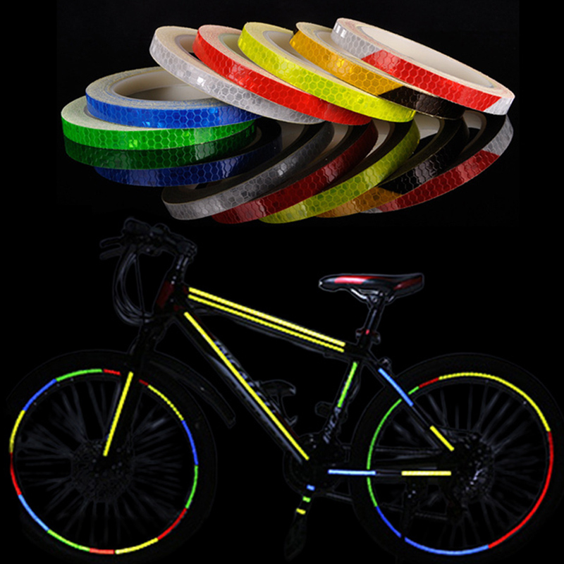 Bicycle Accessories Bike Reflective Stickers Strip MTB Bicycle Wheel Sticker Fluorescent Tape Reflector Sticker Cycling Decor