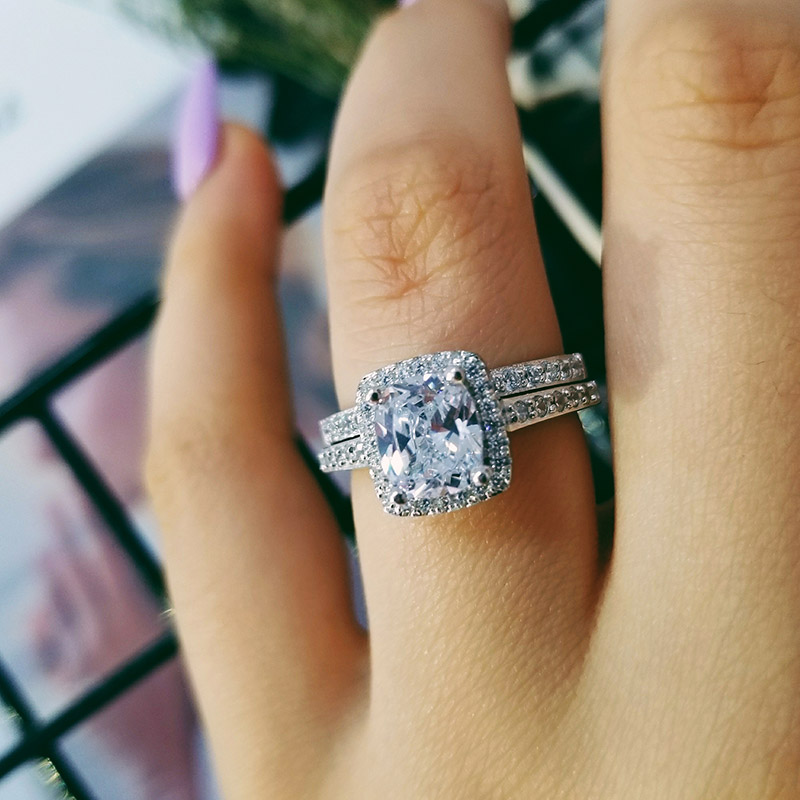 2020 New 925 Sterling Silver Cushion Cut Finger Ring Sets For Women Jewelry Pure Wedding Engagement Rings Personalized R4211