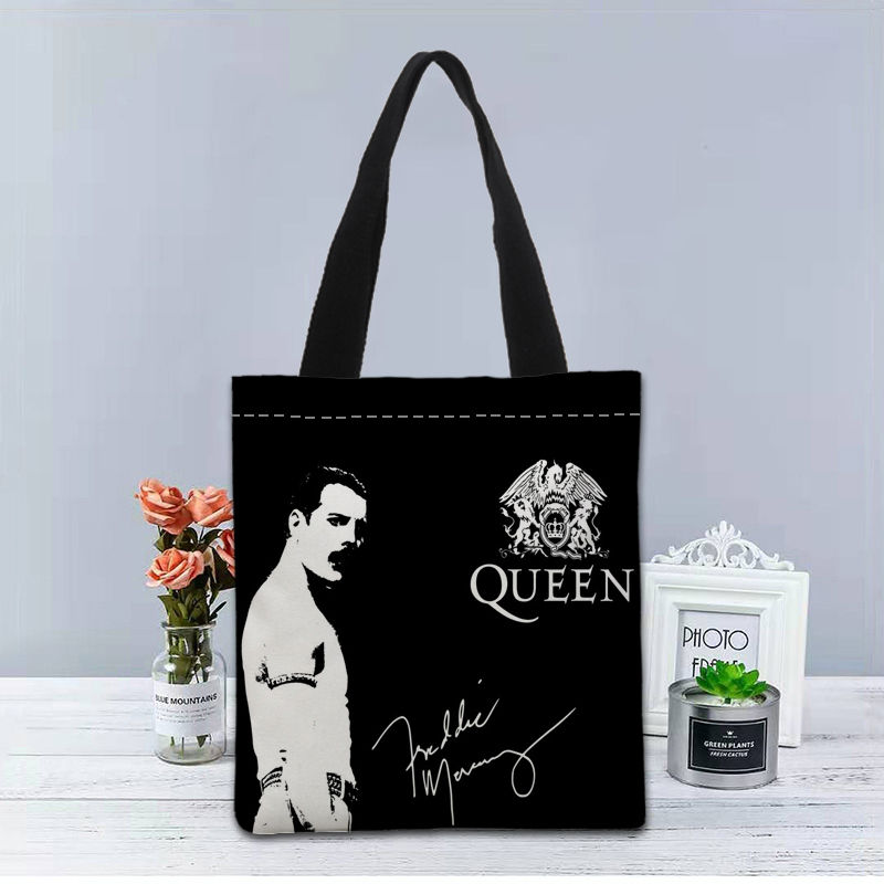 Image 4 - New Custom Freddie Mercury printed Handbag canvas tote bags shopping travel Casual Useful Shoulder Bag women bagTop-Handle Bags   -