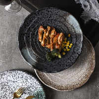Japanese tableware retro ceramic plate restaurant cutlery sushi dish home square dish rice bowl soup bowl snack dish steak plate