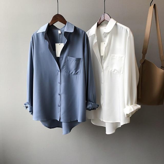 White Women Blouse Ol Commuting 2021 Spring Lapel Long Sleeve Women Blouses Office Fashion Elegant Loose White Women Shirt Top 5
