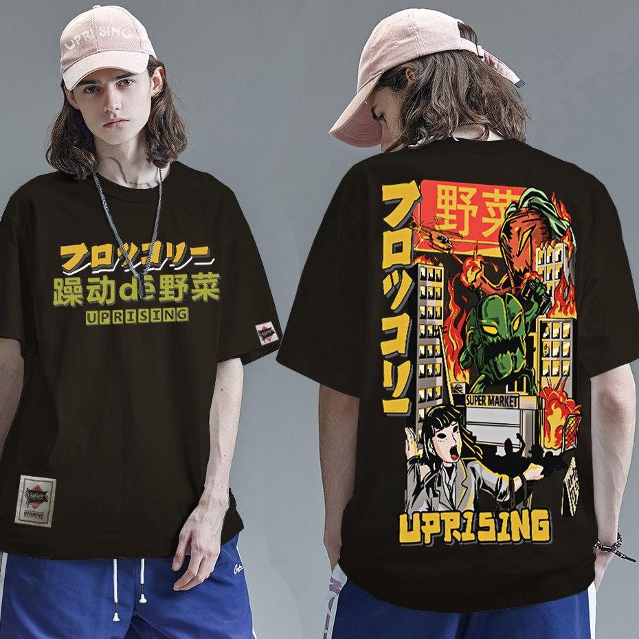 2021 Men Hip Hop T Shirt Japanese Harajuku Cartoon Monster T-Shirt Streetwear Summer Tops Tees Cotton Tshirt Oversized HipHop