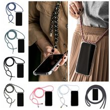Necklace Lanyard Case For ASUS Zenfone 4 Max ZC520KL ZC554KL ZE554KL ZC550KL ZS551KL ZB553KL ZD553KL Transparent Soft TPU Case(China)