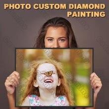Diy foto pintura diamante personalizado carta quadrado diamante redondo decoração da parede personalizável decoração sem moldura estilo