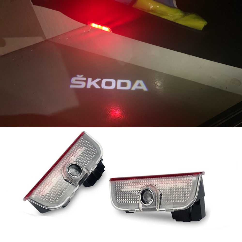 2Pcs Car LED Door Welcome Lamp Logo Projector Ghost Shadow Light For Skoda Superb 2009-2015