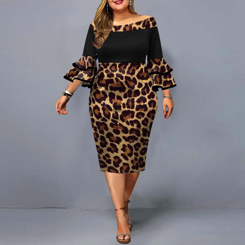Plus Size Dresses 2021 Autumn Elegant Leopard Printed Wedding Party Dress