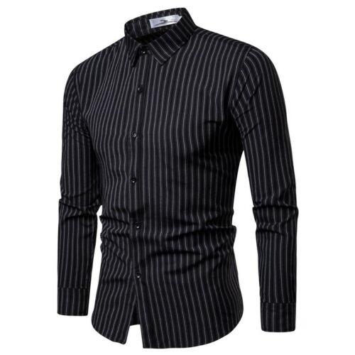 New Fashion Luxury Men's Slim Fit Shirt Long Sleeve Stylish Striped Casual Dress Shirts Outwear Plus Size