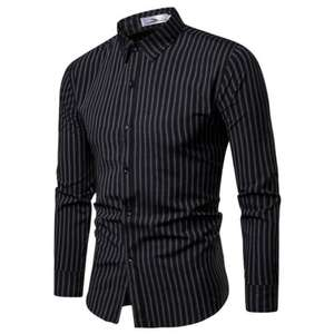 Outwear Shirt Casual-Dress Slim-Fit Long-Sleeve Striped Plus-Size New-Fashion Luxury