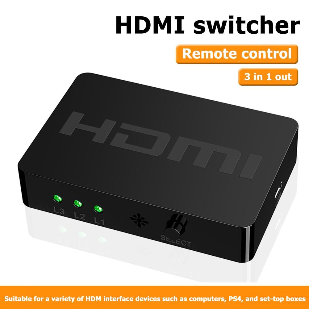 3-портовый 1080P HDMI коммутатор Plug Play удобный быстродействующий 3x1 HDMI сплиттер с пультом дистанционного управления для PS4 TV Box