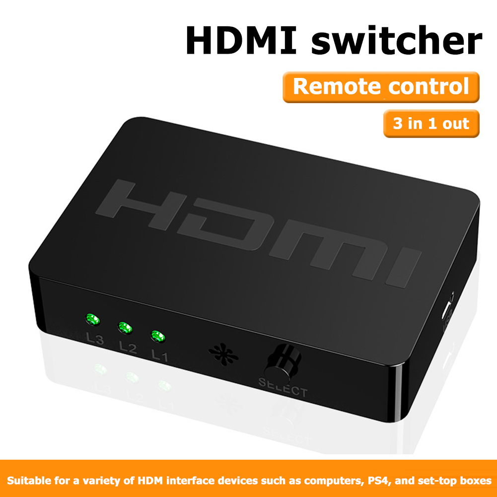 3 Port 1080P HDMI Switcher Plug Play Convenient Quick Operate 3x1 HDMI Splitter With Remote Control For PS4 TV Box