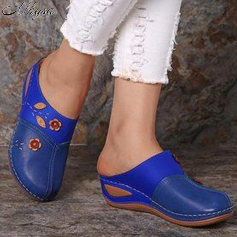 2020 New Women Sandals Summer Women Shoes Soft Bottom Retro Baotou Shoes Woman Flowers Sandalias Mujer Feminina