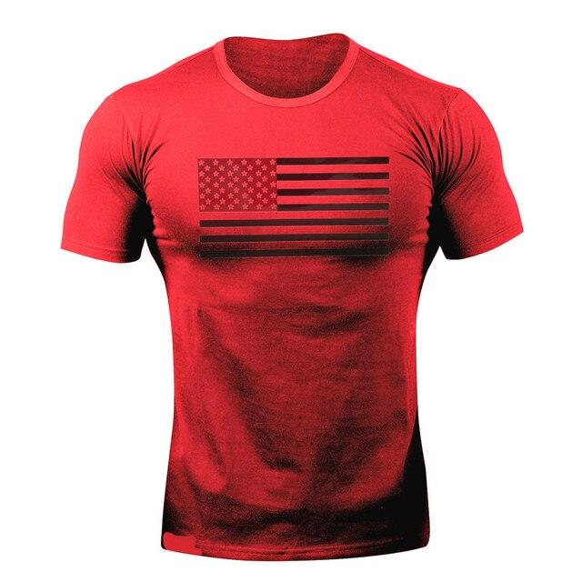 """חולצת טריקו קצרה לאימון כושר עם לוגו ארה""""ב עבור גברים"""