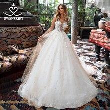 Peri çiçekler düğün elbisesi Swanskirt I189 aplikler boncuklu A Line aç geri dantel prenses gelin kıyafeti Illusion Vestido de Noiva