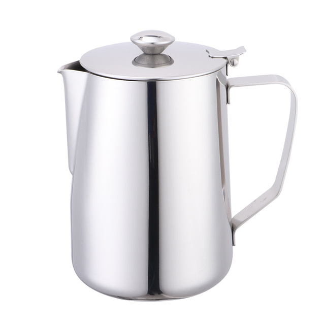600ml Stainless Steel Latte Art Cup with Lid Milk Foam Cup Coffee Set