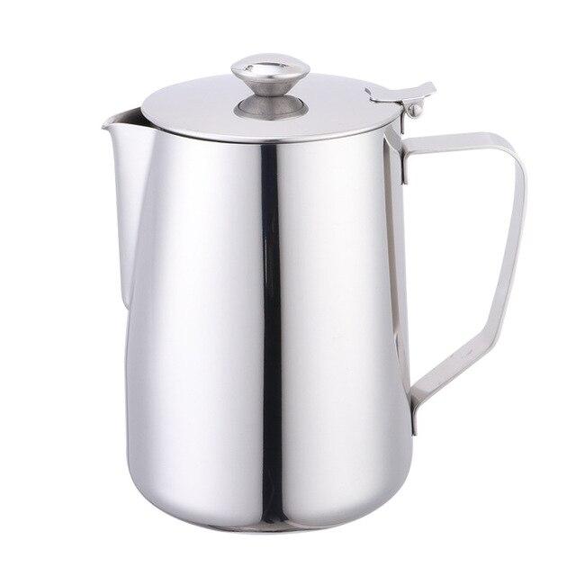 Tasse dart de Latte dacier inoxydable de 600ml avec lensemble de café de tasse de mousse de lait de couvercle