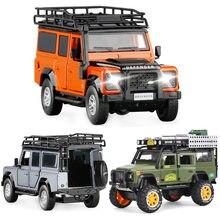 1:32 1:28 Land-Rover DEFENDER SUV fundido Liga modelo carros de Som e Luz de Volta Crianças Brinquedo Coleção Frete Grátis